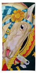 A Carousel Horse Beach Sheet by Rand Swift