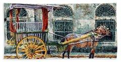 A Carriage In Intramuros, Manila Beach Towel