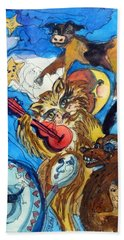 A Cat And A Fiddle Beach Towel by Mindy Newman