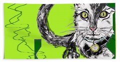 Beach Towel featuring the drawing A Cat by Desline Vitto