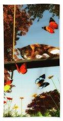 A Cat Looks At The Butterflies Beach Sheet