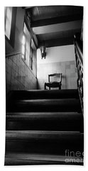 A Chair At The Top Of The Stairway Bw Beach Towel by RicardMN Photography