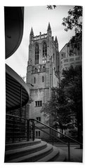 A Charlotte Church Tower In Black And White Beach Towel