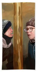 A Christmas Story Tongue Stuck To Pole Beach Towel