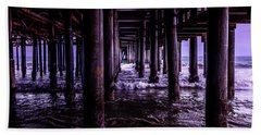 A Cloudy Day Under The Pier Beach Towel