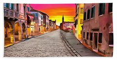 A Cobblestone Street In Venice Beach Towel