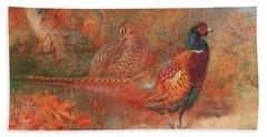 A Cock And Hen Pheasant Unframed Beach Towel