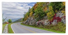Beach Towel featuring the photograph A Colorful Curve On Skyline Drive by Lori Coleman