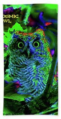 A Cosmic Owl In A Psychedelic Forest Beach Sheet