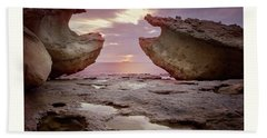 A Crab Stone, By The Cosmic Joker Beach Towel