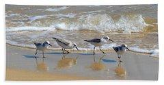 A Cute Quartet Of Sandpipers Beach Sheet