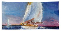 Beach Towel featuring the painting A Day On A Boat Is..... by Michael Helfen