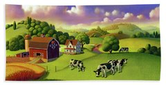 Beach Sheet featuring the painting A Day On The Farm  by Robin Moline