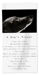 A Dog's Prayer In White  A Popular Inspirational Portrait And Poem Featuring An Italian Greyhound Beach Towel