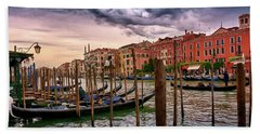 Vintage Buildings And Dramatic Sky, A Dreamlike Seascape In Venice Beach Towel