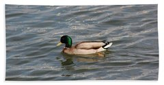 A Duck In The River Beach Towel