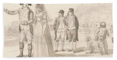 A Family In Hyde Park Beach Towel by Paul Sandby