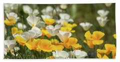 Beach Towel featuring the photograph A Field Of Golden And White Poppies  by Saija Lehtonen