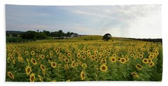 A Field Of Sunflowers Beach Sheet by Janice Adomeit