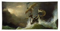 A First Rate Man Of War Driven Onto A Reef Of Rocks, Floundering In A Gale  Beach Towel