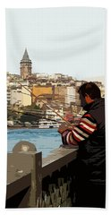 A Fisherman In Istanbul Beach Towel