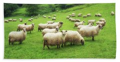 A Flock Of Sheep Beach Towel
