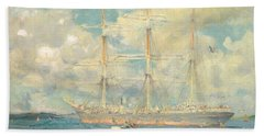 A French Barque In Falmouth Bay Beach Towel