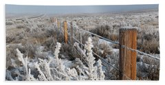 A Frosty And Foggy Morning On The Way To Steamboat Springs Beach Towel