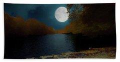 A Full Moon On A River. Beach Towel