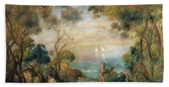 A Garden In Sorrento Beach Towel by Pierre Auguste Renoir