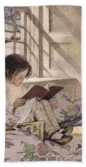 A Girl Reading Beach Towel