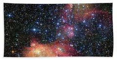 Beach Towel featuring the photograph A Glowing Gas Cloud In The Large Magellanic Cloud by Eso