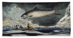 Beach Towel featuring the painting A Good Pool. Saguenay River by Winslow Homer