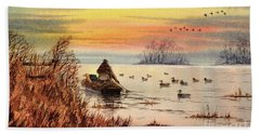 Beach Sheet featuring the painting A Great Day For Duck Hunting by Bill Holkham