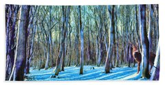 Beach Towel featuring the painting A Grove In Snow by Dave Luebbert