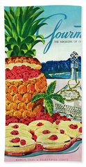 A Hawaiian Scene With Pineapple Slices Beach Towel