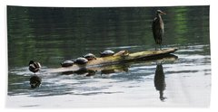 A Heron, Four Turtles, And A Duck Beach Towel