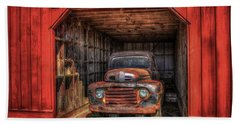 A Hiding Place 1949 Ford Pickup Truck Beach Sheet by Reid Callaway