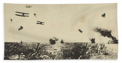 A Hop-over At Ypres, A Bayonet Charge By Australian Troops Also Shows Biplanes, Undated But Presuma Beach Towel