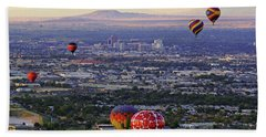 Beach Towel featuring the photograph A Hot Air Ride To Albuquerque Cropped by Daniel Woodrum