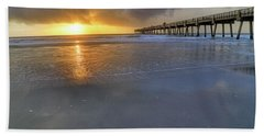 A Jacksonville Beach Sunrise - Florida - Ocean - Pier  Beach Sheet by Jason Politte