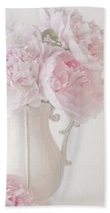 A Jug Of Soft Pink Peonies Beach Towel by Sandra Foster