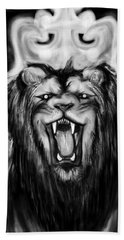 A Lion's Royalty B/w Beach Towel