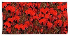 A Little Family Gathering Of Poppies Beach Sheet
