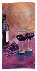 A Little Wine On My Canvas - Wine - Grapes Beach Towel