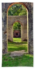 A Look Through Chapel Of Ease St. Helena Island Beaufort Sc Beach Towel