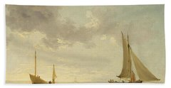 A Lugger And A Smack In Light Airs Beach Towel