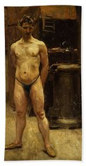 Beach Towel featuring the painting A Male Model Standing Before A Stove John Singer Sargent by Artistic Panda