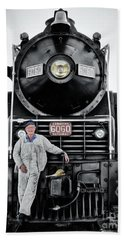 A Man And His Locomotive Beach Towel