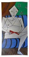 A Man With A Red Stiletto  Beach Sheet by Tamara Savchenko